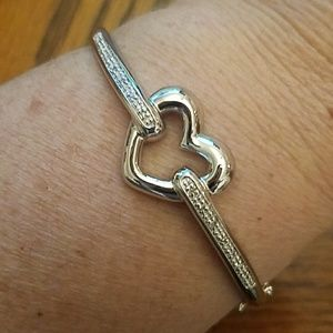 925 Silver heart bangle